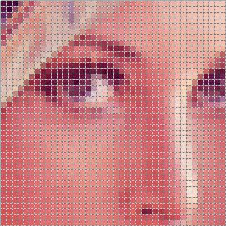 Lenna face broken into pixels