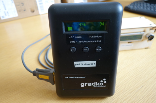 A dylos DC1700 optical particle monitor