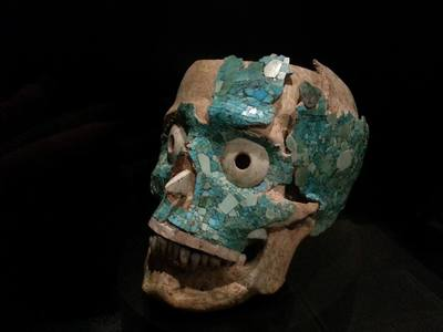 A turqouise encrusted skull from Oaxaca